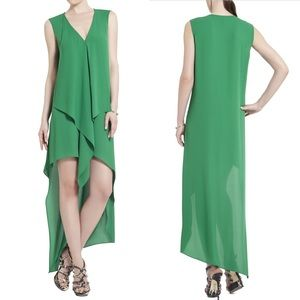 BCBG Tara asymmetrical maxi mini dress- green